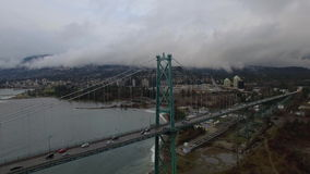 Aerial Canada Vancouver BC. Aerial video of Lions Gate Bridge in Vancouver BC, Canada stock video footage