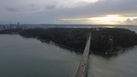 Aerial Canada Vancouver BC. Aerial video of Lions Gate Bridge in Vancouver BC, Canada stock footage