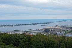 Aerial of Canal Park and Duluth Harbor Stock Photography