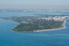 Aerial of Cape Florida lighthouse and Bill Baggs State Park royalty free stock image