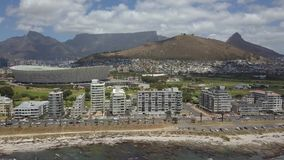 Aerial of Cape Town and Tabble Mountain stock video