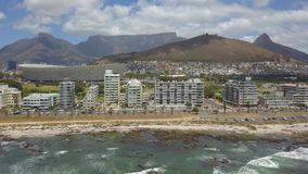 Aerial of Cape Town and Tabble Mountain stock video footage