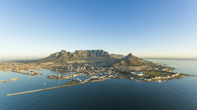 Aerial of Capetown Table Mountain South Africa. An aerial view of Capetown Table Mountain South Africa royalty free stock image