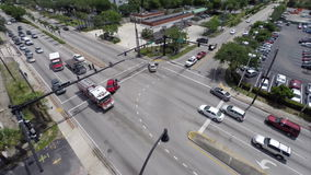 Aerial car accident. Aerial video of a car accident with ambulance and fire rescue stock footage