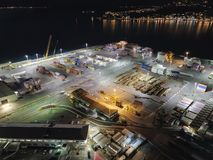 Aerial, Cargo Loading Dock, Night View stock photo