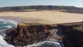 Aerial from Carrapateira beach in Portugal stock video footage
