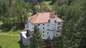AERIAL: Castle in the middle of beautiful Karst countryside stock video
