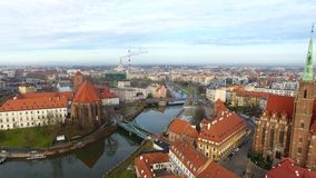 Aerial: Cathedral Island in Wroclaw, Poland. Aerial: Church on the Tumsky Island in Wroclaw, Poland stock video