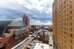 Aerial of center city west in philadelphia pennsylvania during s. Pring Royalty Free Stock Photo