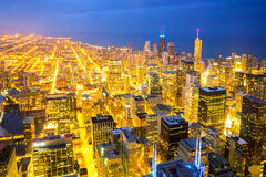 Aerial Chicago City dusk Stock Images