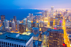 Aerial Chicago City dusk Royalty Free Stock Photo