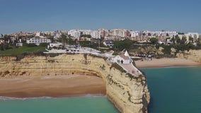 Aerial from the church  Senhora da Rocha in Armacao de Pera, Algarve, Portugal. stock video footage