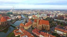 Aerial: Cathedral Island in Wroclaw, Poland. Aerial: Church on the Tumsky Island in Wroclaw, Poland stock video footage