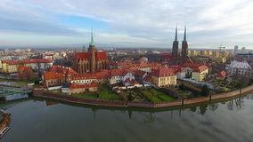 Aerial: Cathedral Island in Wroclaw, Poland. Aerial: Church on the Tumsky Island in Wroclaw, Poland stock footage