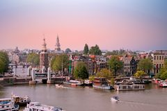 Aerial from the city Amsterdam in the Netherlands. At sunset Royalty Free Stock Image