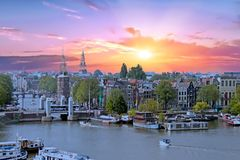 Aerial from the city Amsterdam in the Netherlands. At sunset Royalty Free Stock Photography