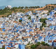 Aerial of the city Chefchaouen in Morocco. Royalty Free Stock Photography