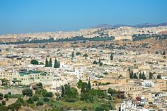 Aerial from the city Fes Fez in Morocco. Africa Stock Photos