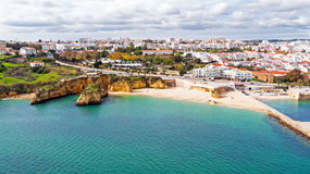 Aerial from the city Lagos in the Algarve Portugal. Aerial from the city Lagos in the Algarve in Portugal Royalty Free Stock Photos
