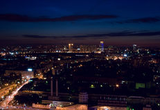 Aerial Moscow city night. Modern contemporary Russian architecture cityscape: aerial view from above of night megalopolis / city Moscow (Russia) at night / Stock Photography