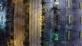 Aerial city at night stock footage