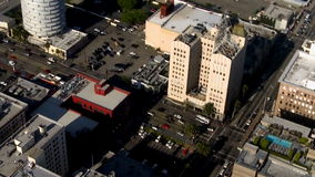 Aerial city office building view stock video