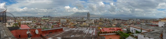 Aerial city overview of napoli with vesuvius Royalty Free Stock Image