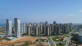 Aerial city shot on modern residential buildings stock footage