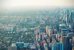 Aerial of city skyline Royalty Free Stock Image