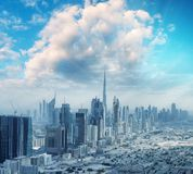 Aerial city skyline from helicopter - Dubai, UAE.  royalty free stock images