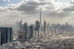 Aerial city skyline from helicopter - Dubai, UAE.  stock photo