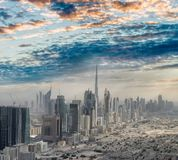 Aerial city skyline from helicopter - Dubai, UAE.  stock photography