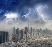 Aerial city skyline from helicopter - Dubai, UAE.  royalty free stock photography