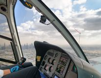 Aerial city skyline from helicopter, Dubai - United Arab Emirate. S royalty free stock photography