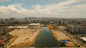 Aerial city with skyscrapers and buildings. Philippines, Manila, Makati. stock footage