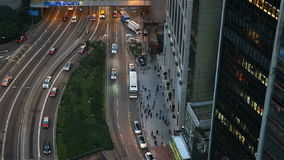 Aerial city traffic stock footage