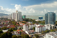 Aerial city view. Aerial view to the Georgetown city , Penang, Malaysia Royalty Free Stock Image