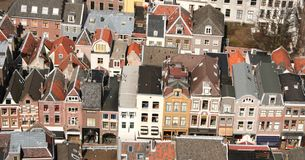 Aerial city view. Birds eye view of a Dutch city Royalty Free Stock Image