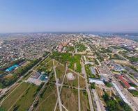 Aerial city view from air (helicopter) Royalty Free Stock Photo