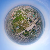 Aerial city view from air - little planet mode Royalty Free Stock Image