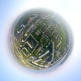 Aerial city view from air - little planet mode Stock Photography