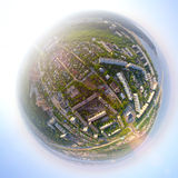 Aerial city view from air - little planet mode Stock Photos