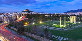 Aerial city view in Athens, Greece royalty free stock image