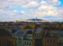 Aerial city view of beautiful  Sacre-Coeur church Montmartre and panorama view of Paris Stock Photos