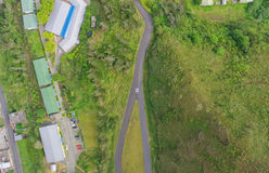 Aerial city view with crossroads. Overall aerial city view with crossroads and roads Of Banos de Agua Santa, Tungurahua Province, South America Stock Images
