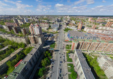 Aerial city view with crossroads and roads, houses buildings. Copter shot. Panoramic image. Stock Images