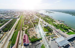 Aerial city view with crossroads and roads, houses buildings. Copter shot. Panoramic image. Stock Photo