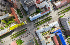 Aerial city view with crossroads and roads, houses buildings. Copter shot. Panoramic image. Stock Image