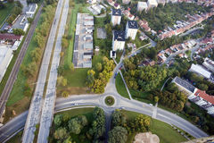 Aerial city view, houses, intersections, bridge, rails, Brno, Cz Stock Photos