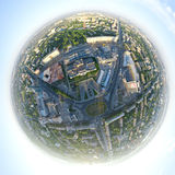 Aerial city view - little planet mode Stock Image